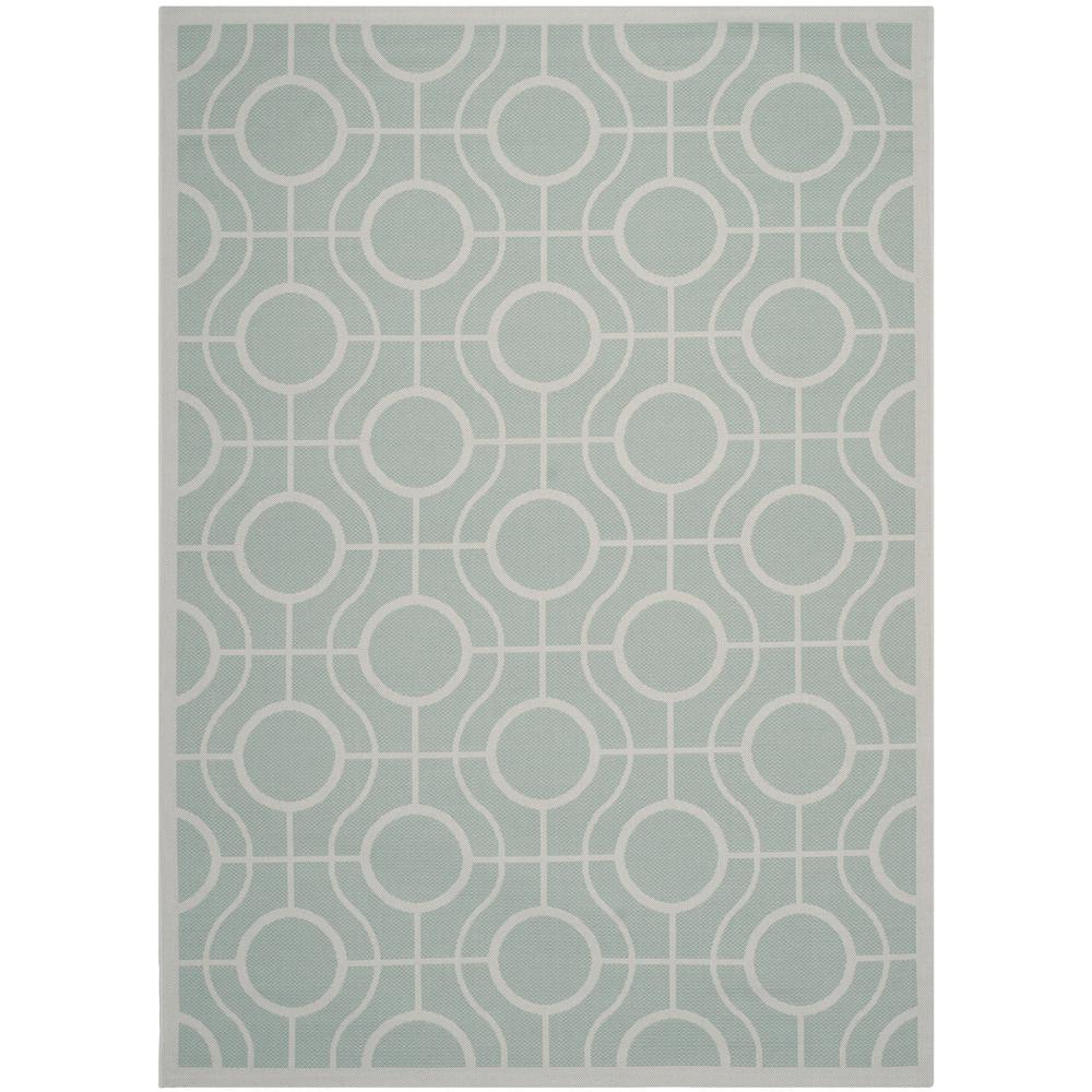 Safavieh Courtyard Aqua/Light Gray 5 ft. 3 in. x 7 ft. 7 in. Indoor/Outdoor Area Rug