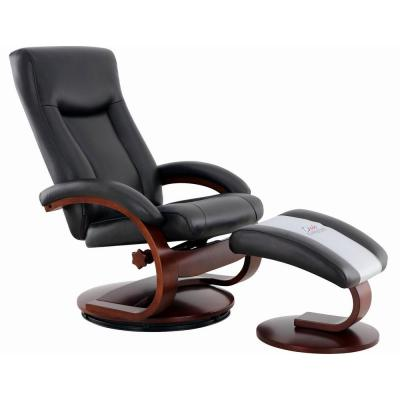 Hamilton Black Air Leather Recliner and Ottoman with Pillow