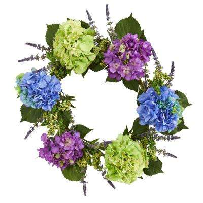 22 in. Indoor Hydrangea Artificial Wreath
