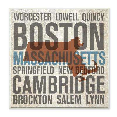 """12 in. x 12 in. """"Massachusetts Towns And Cities"""" by Michael Mullan Printed Wood Wall Art"""