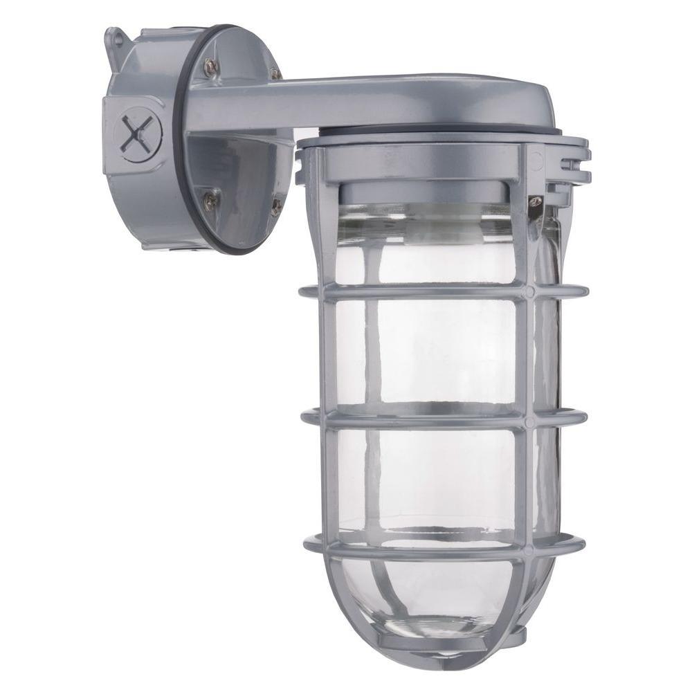 Outdoor Gray High Pressure Sodium Wall Mount Utility Vapor Tight Security Light