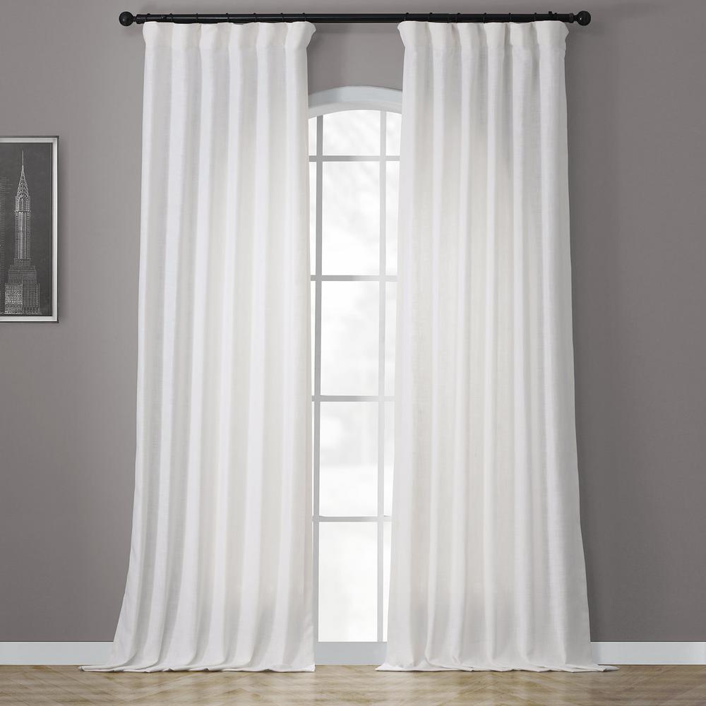 Heavy Faux White Polyester Linen Room Darkening Curtain - 50 in. W x 120 in. L
