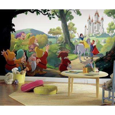 72 in. x 126 in. Disney Princess Snow White Happily Ever After XL Chair Rail 7-Panel Prepasted Mural