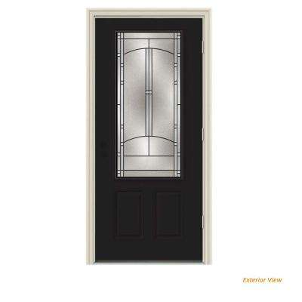 36 in. x 80 in. 3/4 Lite Idlewild Black w/ White Interior Steel Prehung Left-Hand Outswing Front Door w/Brickmould
