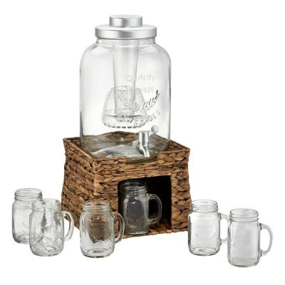Garden Terrace 3 Gal. Glass Bev Dispenser with Chiller/Infuser, Water Hyacinth Stand, and 6-Glass Mason Jar Mugs 15 oz.