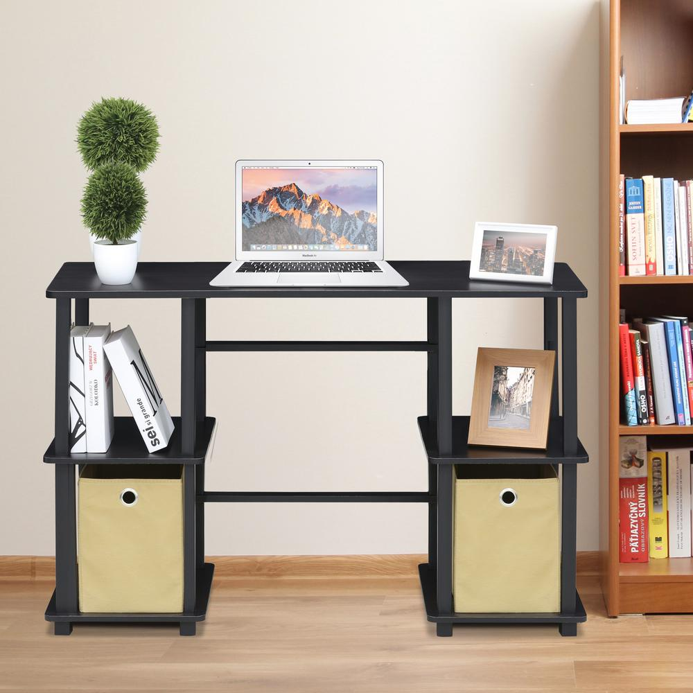 Furinno Turn N Espresso Black Computer Desk With Storage Bins