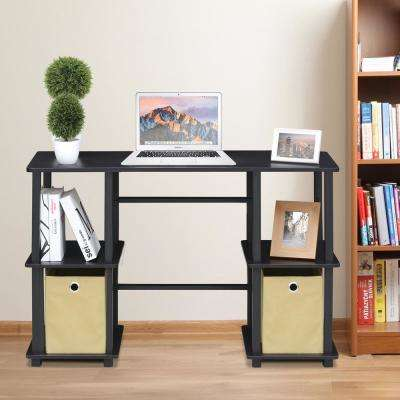 Furinno Turn-N-Tube Espresso/Black Computer Desk with Storage Bins