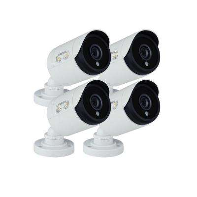 1080p Wired HD Analog White Bullet Standard Surveillance Camera with 100 ft. Night Vision and 60 ft. of Cable (4-Pack)