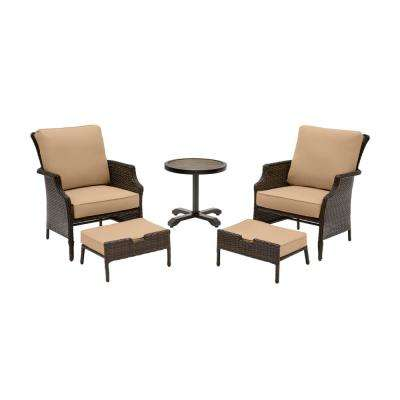 Grayson Brown 5-Piece Wicker Outdoor Patio Small Space Seating Set with CushionGuard Toffee Tan Cushions