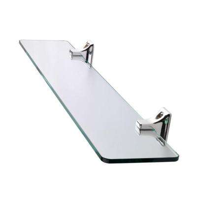 Sutton 4.53 in. L x 1.96 in. H x 19.6 in. W Wall-Mounted Opaque Glass Bathroom Shelf with Flexi-Fix in Chrome