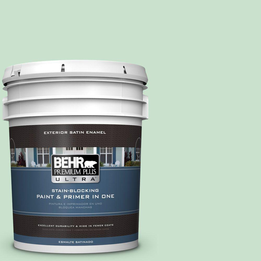 BEHR Premium Plus Ultra 5-gal. #M410-2 Wishful Green Satin Enamel Exterior Paint