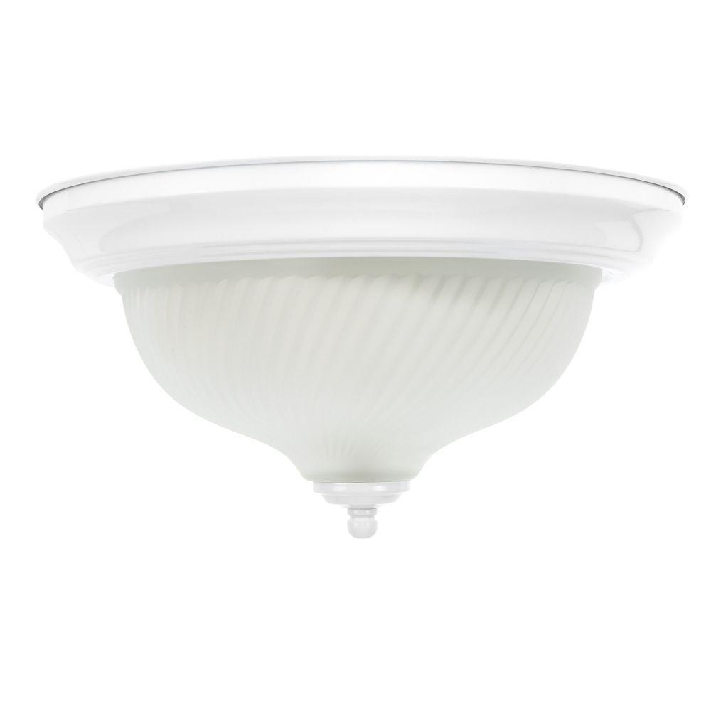 11 in. 2-Light White Flushmount with Frosted Swirl Glass Shade