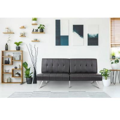 35 in. Black Leather 3-Seater Queen Sleeper Armless Sofa Bed with Tapered Legs