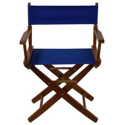 Extra-Wide 18 in. Mission Oak Frame/Royal Blue Canvas American Hardwood Directors Chair