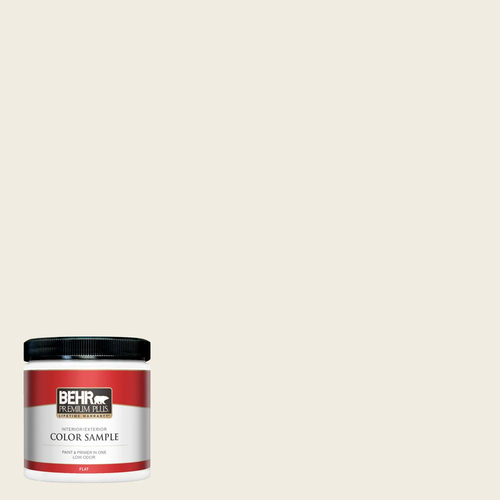 BEHR PREMIUM PLUS 8 oz. #12 Swiss Coffee Flat Interior/Exterior Paint and Primer in One Sample