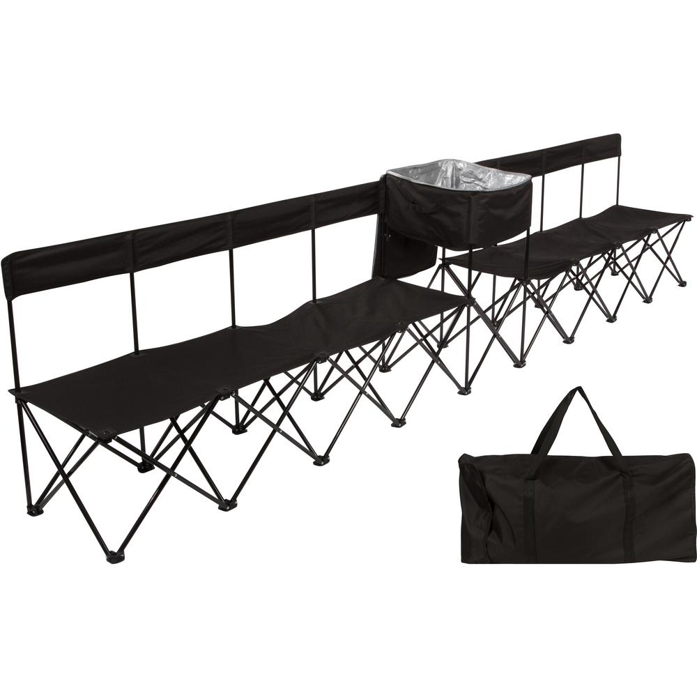 Amazing Trademark Innovations 13 5 Ft Black Portable 8 Seater Folding Team Sports Sideline Chair Attached Cooler Andrewgaddart Wooden Chair Designs For Living Room Andrewgaddartcom