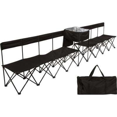 13.5 ft. Black Portable 8-Seater Folding Team Sports Sideline Chair (Attached Cooler)