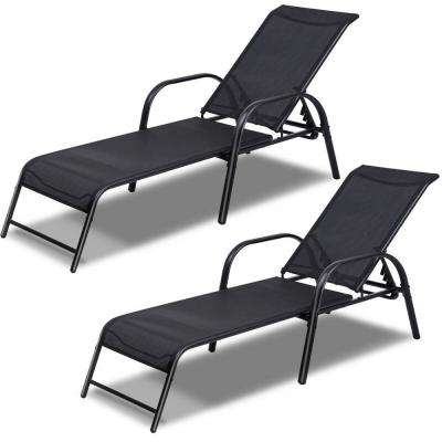 Black 2-Pieces of Metal Steel Back Adjustable Outdoor Chaise Lounge Patio Lounge Chairs Sling Recliner