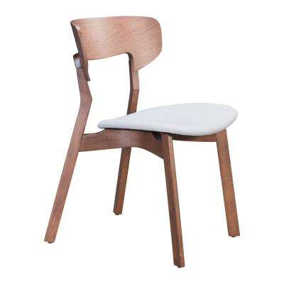Russell Walnut and Light Gray Dining Chair (Set of 2)