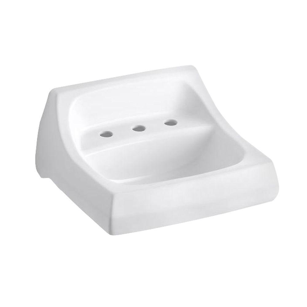KOHLER Kingston Wall-Mount Vitreous China Bathroom Sink in White with Overflow Drain