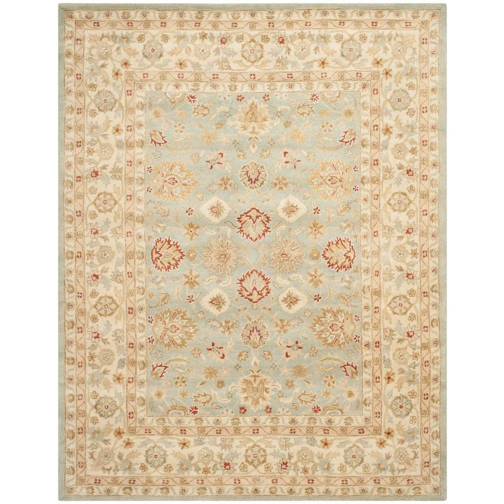 Safavieh antiquity grey blue beige 9 ft x 12 ft area rug for Grey and tan rug