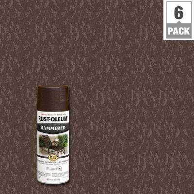 12 oz. Protective Enamel Hammered Brown Spray Paint (6-Pack)