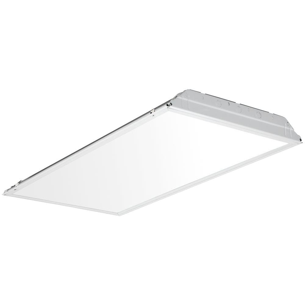 Commercial electric 2 ft x 4 ft 128 watt equivalent prismatic lens 2 ft x 4 ft 59 watt white integrated led smooth lens aloadofball Image collections
