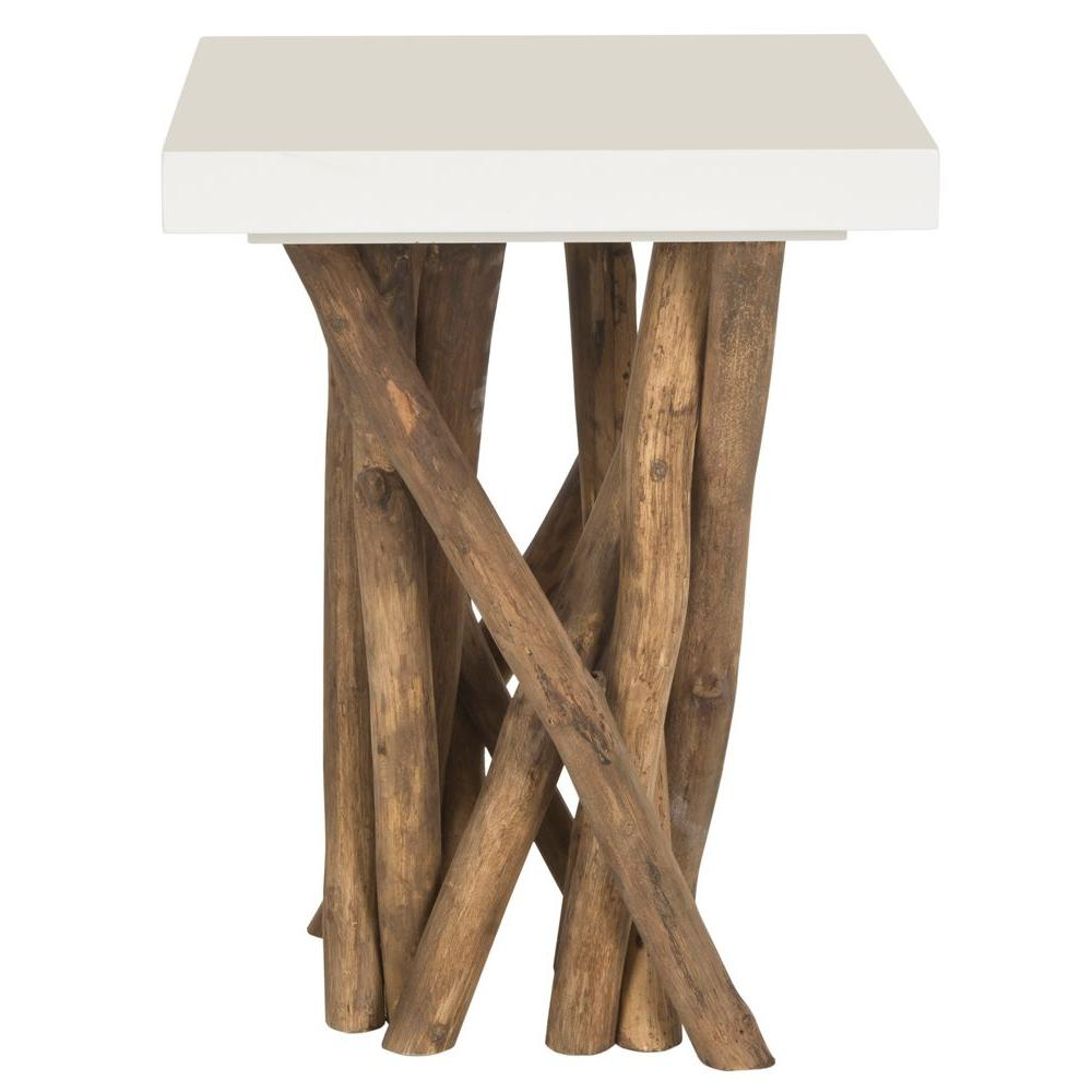 Hartwick White and Natural Side Table