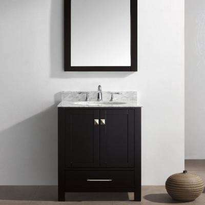 Aberdeen 29.1 in. W x 22 in. D x 35 in. H Vanity in Espresso with Carrara Marble Vanity Top in White with White Basin