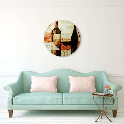 """After the Wine"" Circular Silver Canvas Giclee Printed on 2"" Wood Stretcher Wall Art"