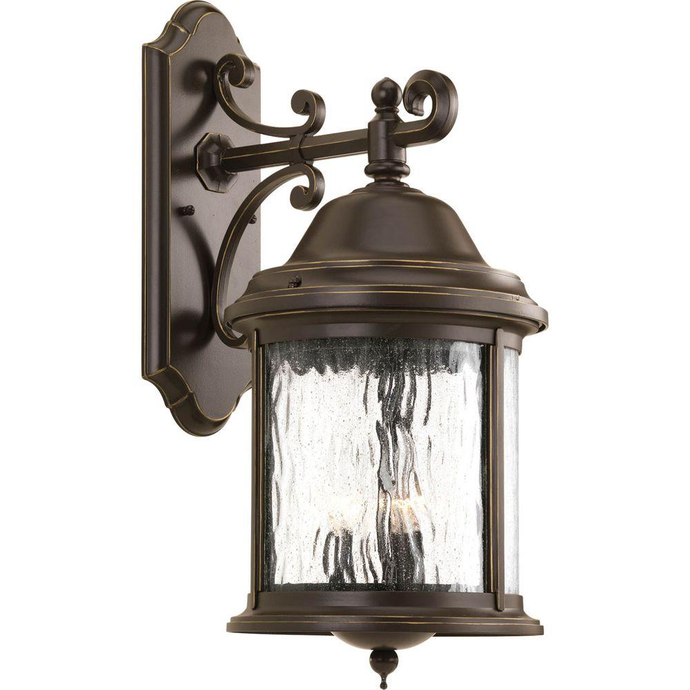 Ashmore Collection 3-Light Antique Bronze 20.5 in. Outdoor Wall Lantern Sconce