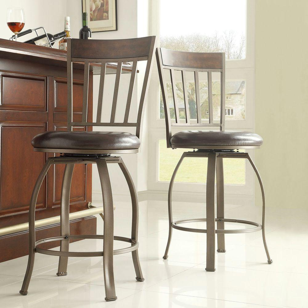 Evans 24 in. Bronzed Pewter Swivel Cushioned Bar Stool (Set of