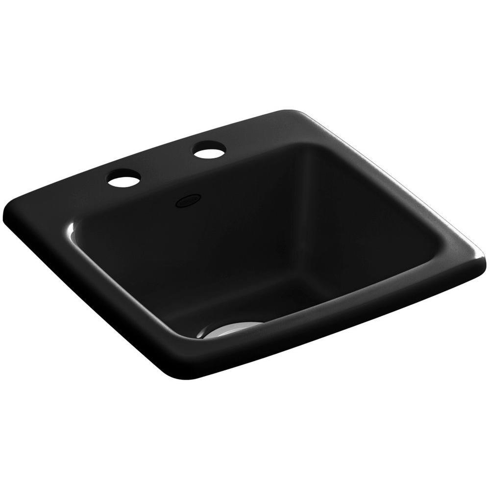 Gimlet Drop-In Acrylic 15 in. 2-Hole Single Bowl Bar Sink in Black Black