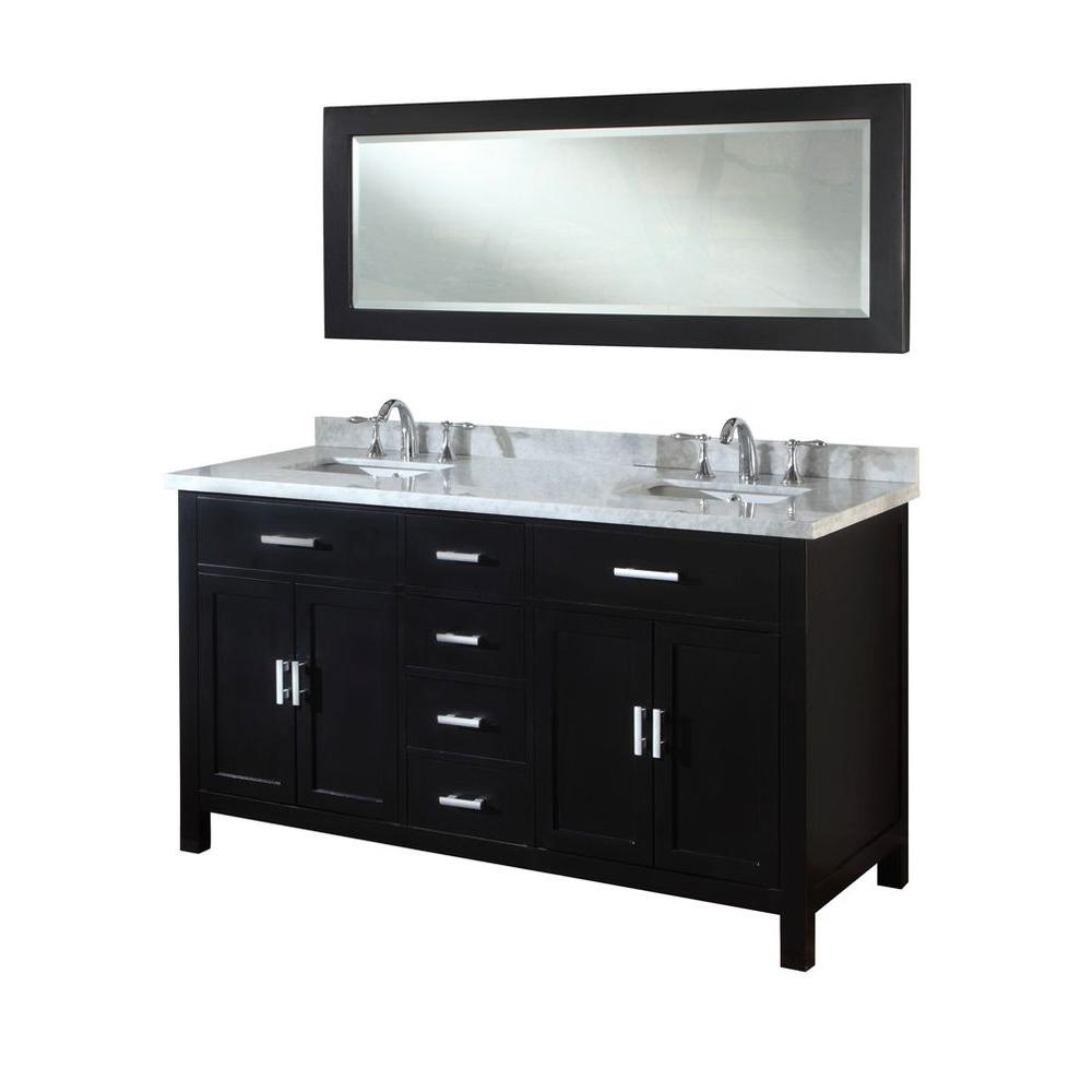 Direct vanity sink Hutton Spa 63 in. Double Vanity in Ebony with Marble Vanity Top in Carrara White and Mirror