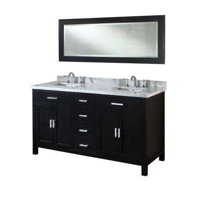 Hutton Spa 63 in. Double Vanity in Ebony with Marble Vanity Top in Carrara White and Mirror