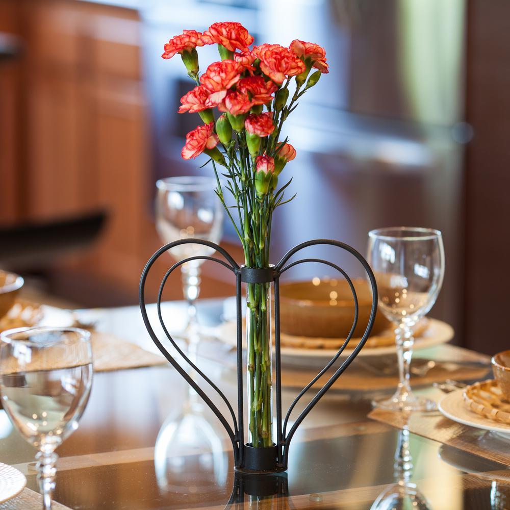 Sweetheart Black Iron Heart-Shaped Decorative Bud Vase