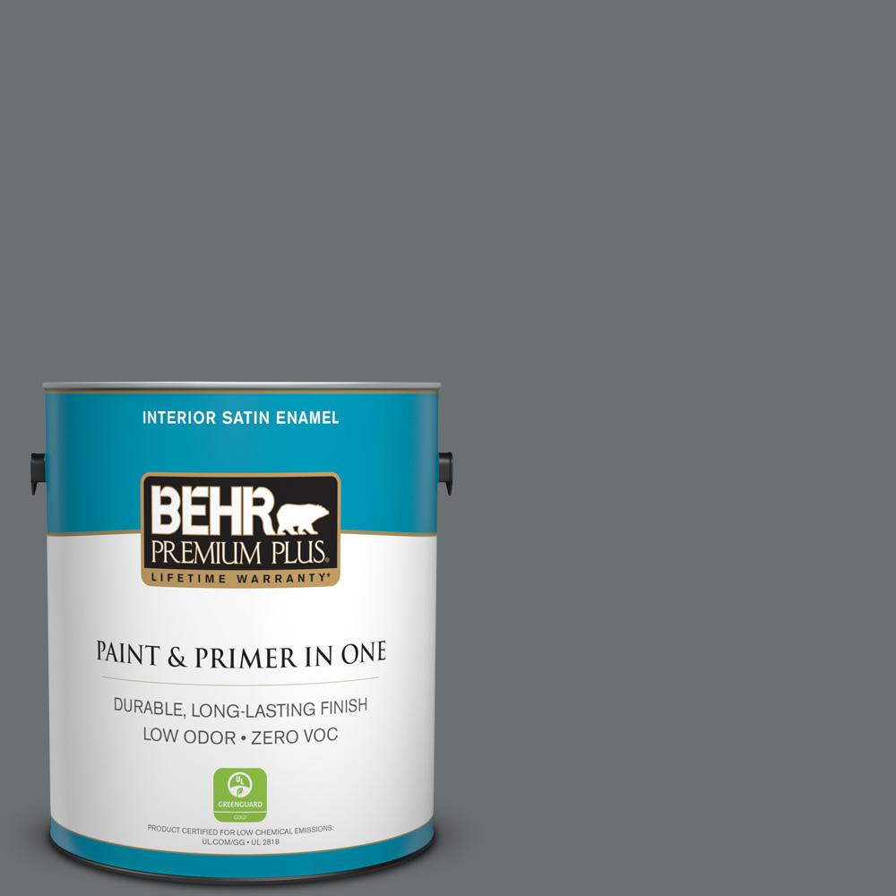1 gal. #PPU18-03 Antique Tin Zero VOC Satin Enamel Interior Paint