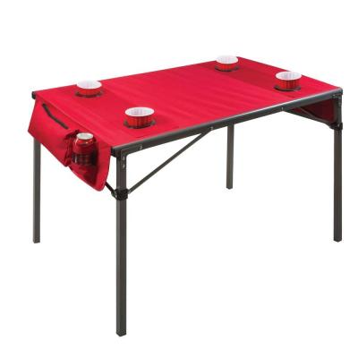 Red Plastic Outdoor Patio Travel Table with Gunmetal Grey Frame