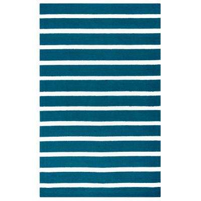 Azzura Hill Marine blue Striped 3 ft. 6 in. x 5 ft. 6 in. Indoor/Outdoor Area Rug