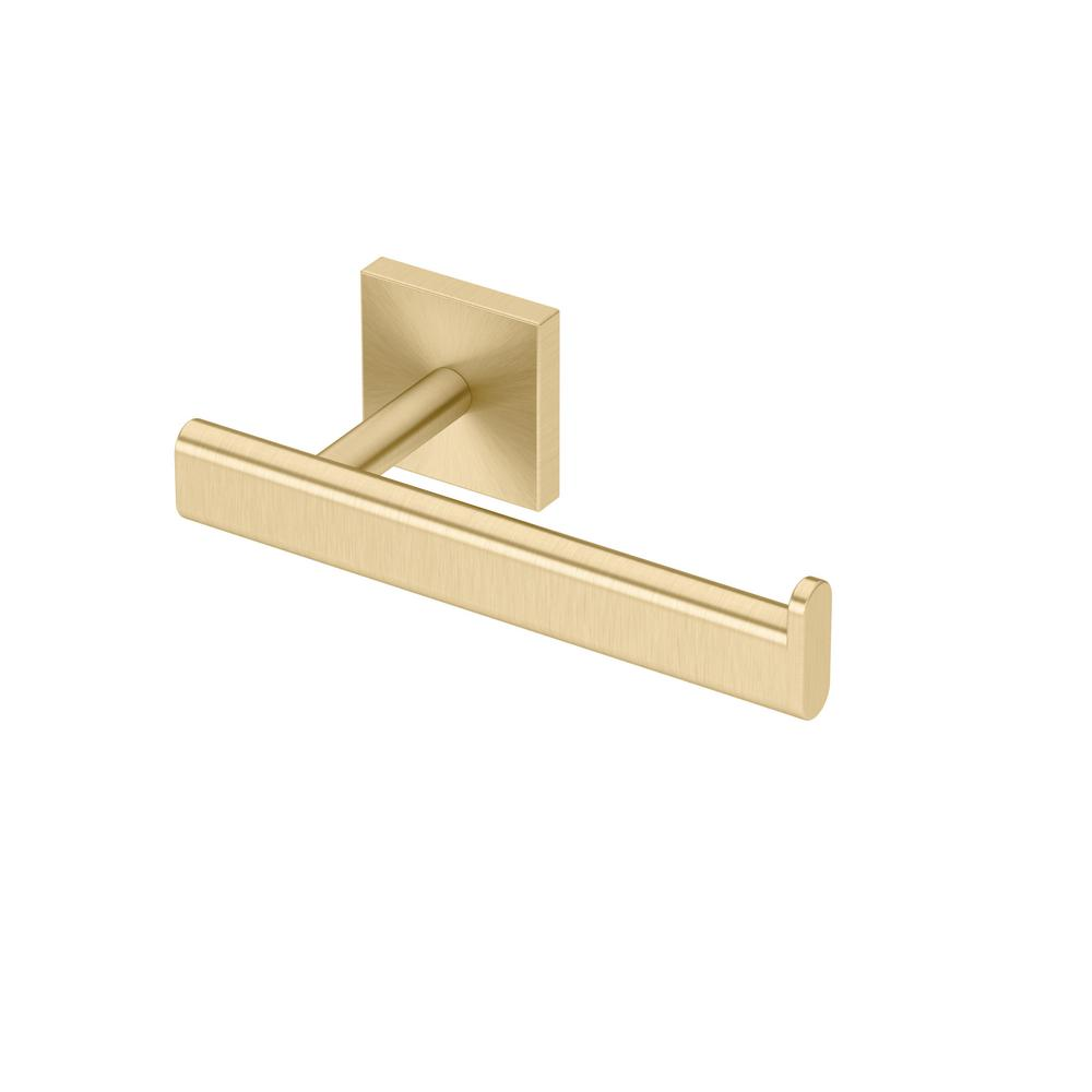 Gatco Elevate Euro Single Post Toilet Paper Holder in Brushed Brass