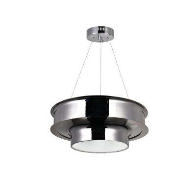 Discus 4-Light Polished Nickel Drum Chandelier