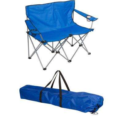 Blue 31.5 in. H Loveseat Style Steel Frame Double Camp Chair