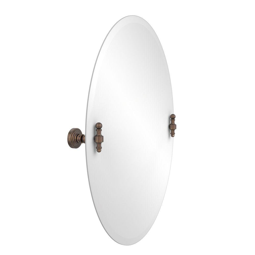 Retro-Wave Collection 21 in. x 29 in. Frameless Oval Single Tilt