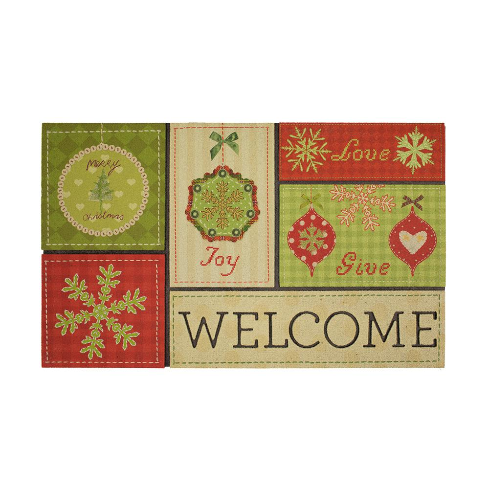 Accent Rug// Door Mat Cardinal With Christmas Celebrate the Holidays All Year Long