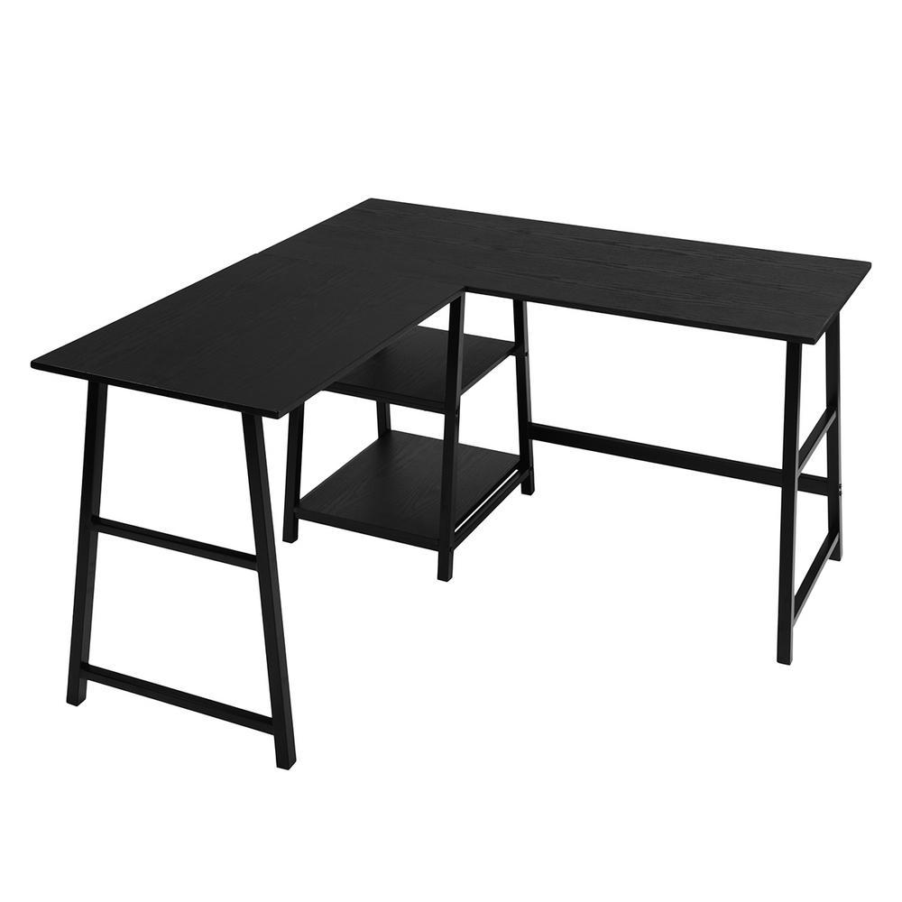 Drogba Black L Shape Desk with Shelves