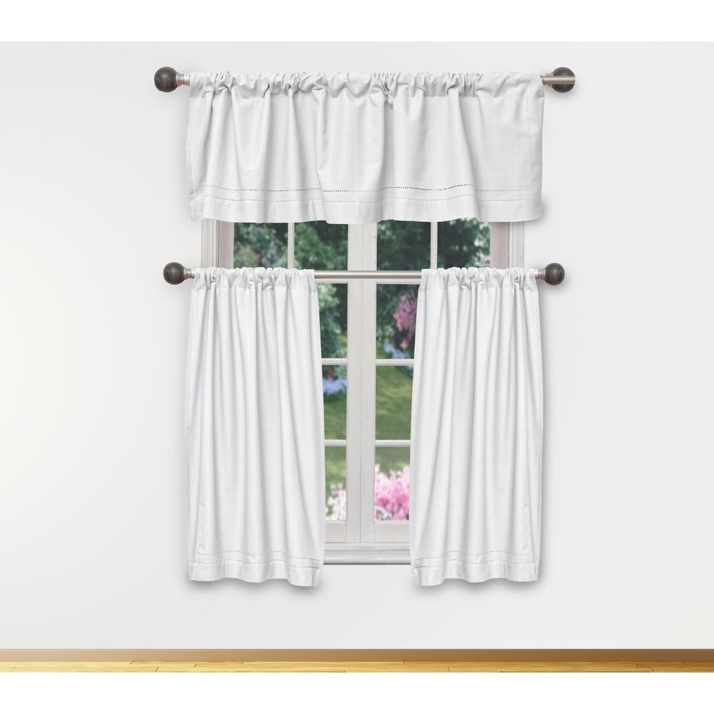 duck river miles kitchen valance in tiers white 15 in w x 58 in rh homedepot com  kitchen valance and tier set