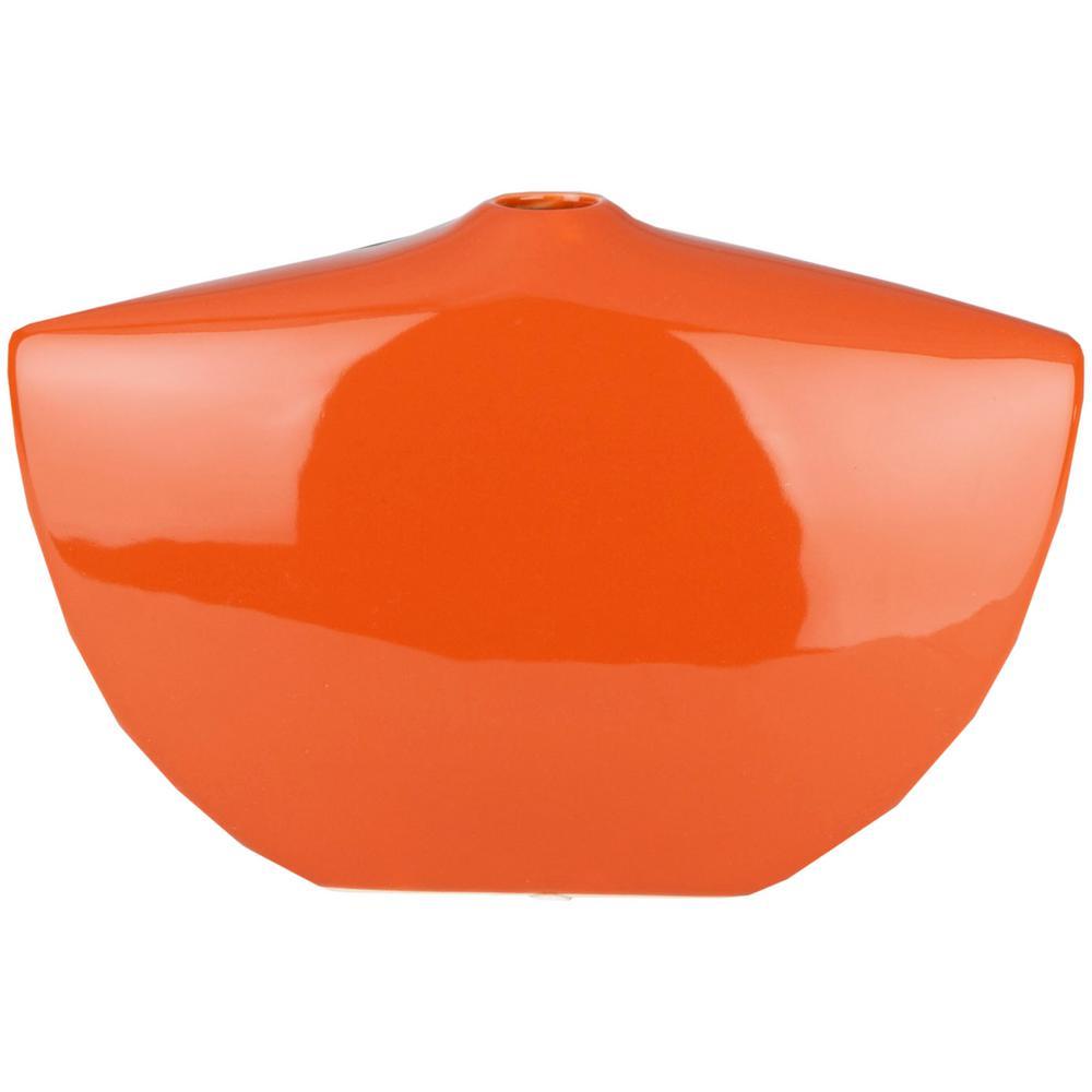 Belsrak 6.3 in. Orange Ceramic Decorative Vase