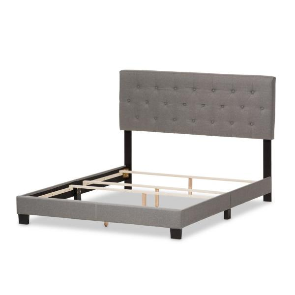 Baxton Studio Cassandra Gray Fabric Upholstered King Bed 28862-7459-HD