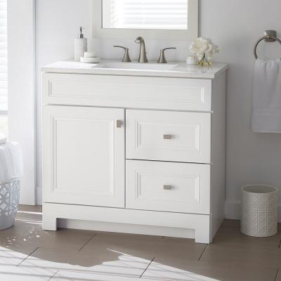 Sedgewood 36-1/2 in. W Bath Vanity in White with Solid Surface Technology Vanity Top in Arctic with White Sink