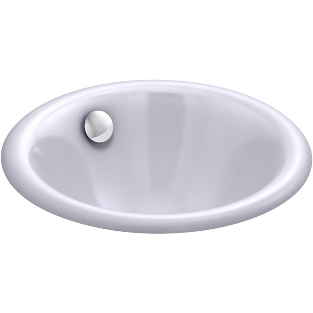 Iron Plains Round 12 in. Drop-In/Under-Mount Cast Iron Bathroom Sink in Lavender Grey